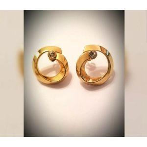 Vintage Avon pierced earrings gold tone crystal